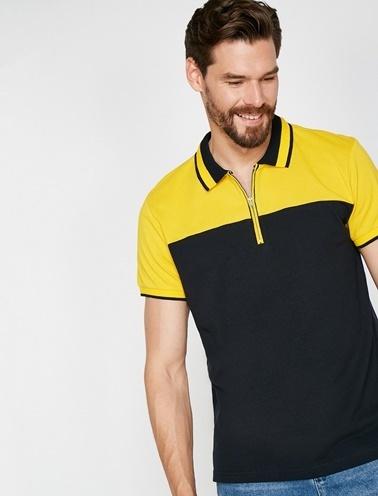 Koton Fermuar Detaylı T-Shirt Lacivert
